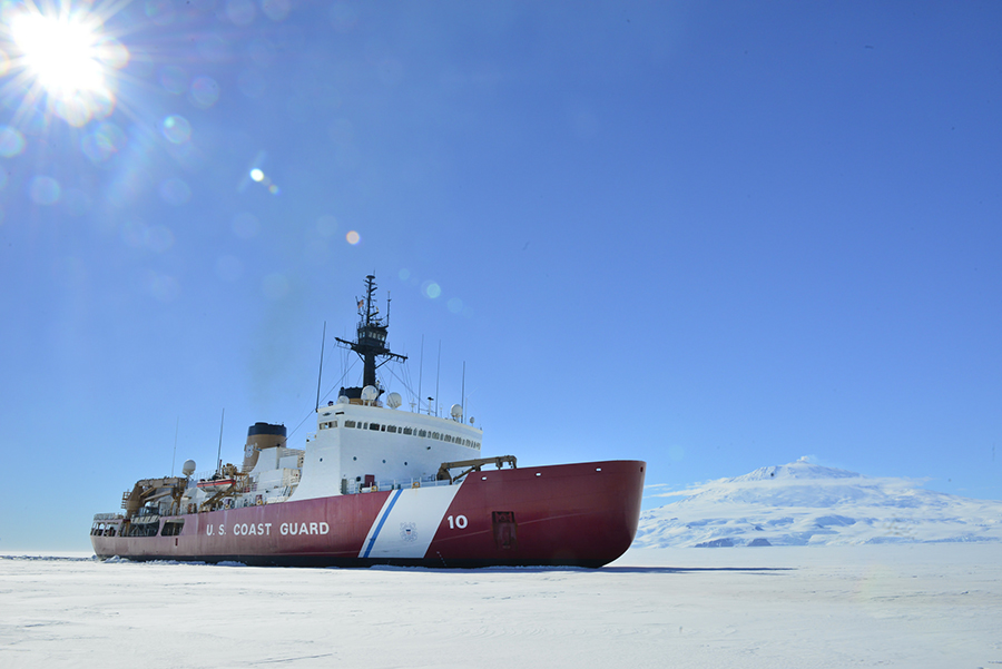 The U.S. Coast Guard ice breaker Polar Star in McMurdo Sound, off Antarctica. Credit: Chief Petty Officer Nick Ameen/U.S. Coast Guard