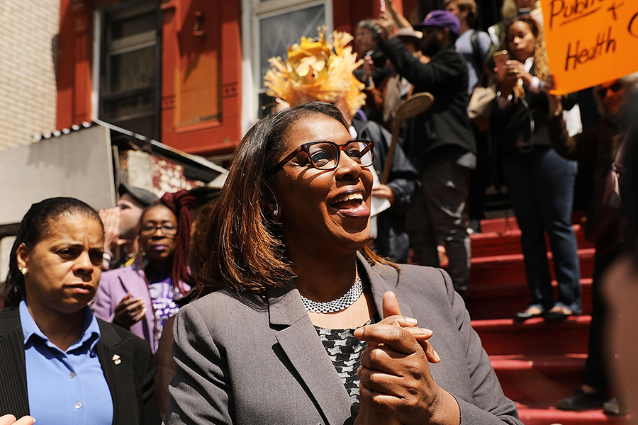 Letitia James, New York City's public advocate and a former city councilwoman, won the Democratic primary for state attorney general. If elected in November, she will have some high-profile investigations on her plate. Credit: Spencer Platt/Getty Images