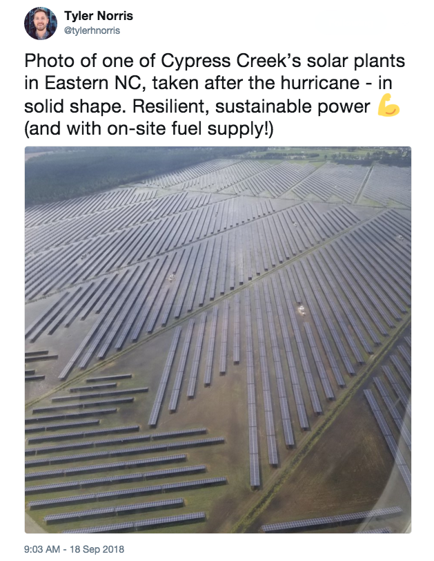 Tweet by Tyler Norris on solar and the storm. Credit: Twitter