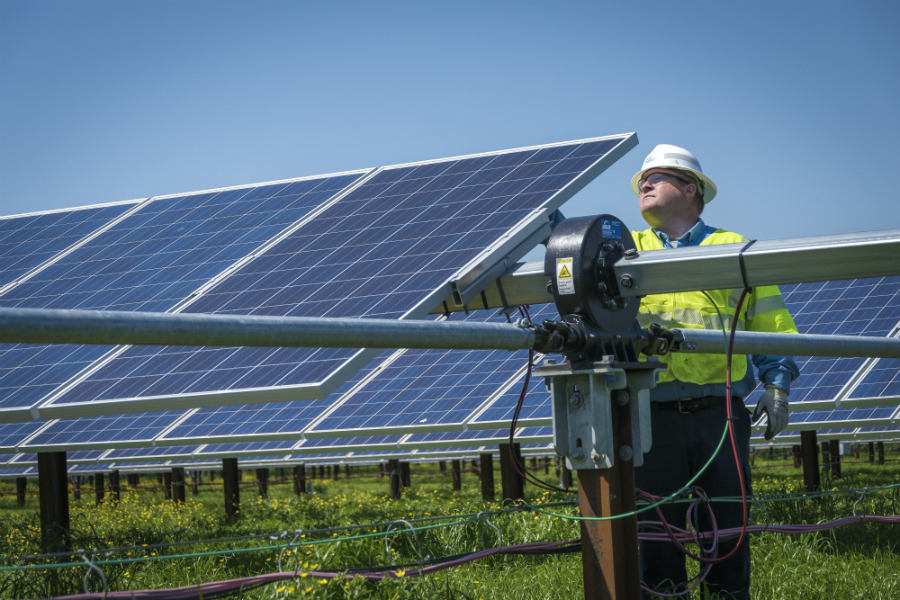North Carolina gets about 4.6 percent of its electricity from solar panels. The state's solar farms came through Hurricane Florence with little damage. Credit: Duke Energy
