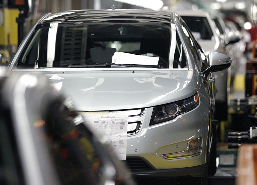 Chevy Volts come off an assembly line in Michigan. Credit: Bill Pugliano/Getty Images