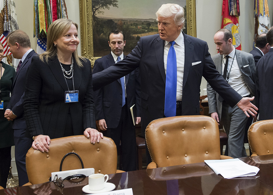 General Motors CEO Mary Barra, along with the chief executives of Ford and Fiat Chrysler, met with President Trump at the White House in January 2017 to discuss U.S. auto emissions standards. Credit: Saul Loeb/Getty Images