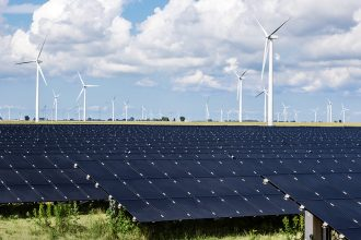 Grand Ridge in Illinois combines wind and solar power in one site to save money and increase its power supply. Credit: Invenergy