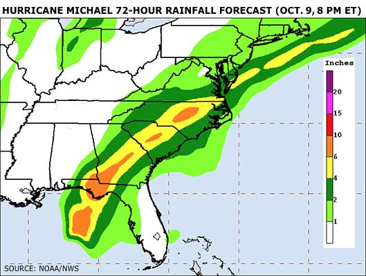 Hurricane Michael 72-hour rainfall forecast as of Oct. 9 at 8 pm ET. Source: NOAA/NWS