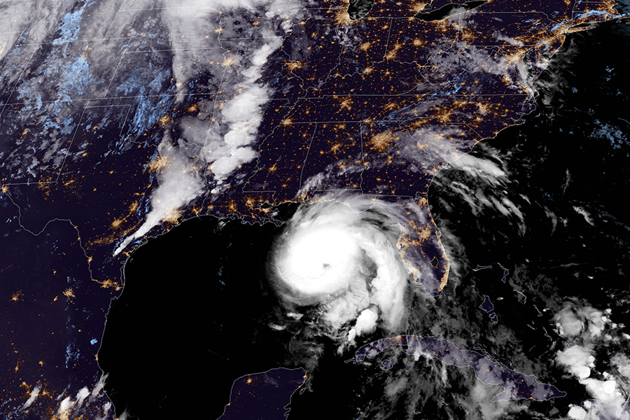 Hurricane Michael approaches the Florida coast on Oct. 9. 2018. It was forecast to turn north east and cross Georgia and the Carolinas. Credit: NOAA/GOES-CONUS