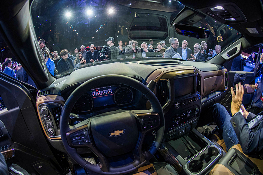 The view from inside the latest model of the Chevy Silverado. Credit: Jewel Samad/AFP/Getty Images