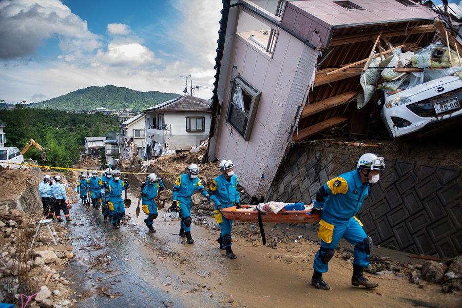 In Japan, record-breaking rainfall set off mudslides in July and was blamed for more than 200 deaths. Credit: Martin Bureau/AFP/Getty Images