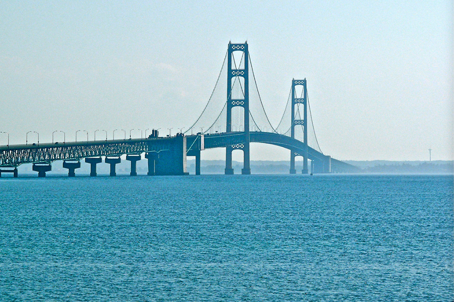 The Straits of Mackinac are a stretch of water connecting Lakes Michigan and Huron. Credit: Deb Nystrom/CC-BY-2.0