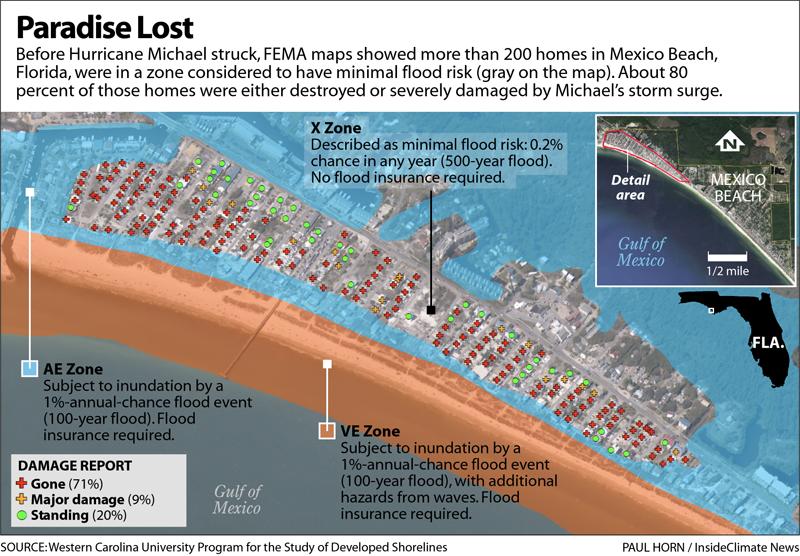 Map: Hurricane Damage in Mexico Beach, Florida