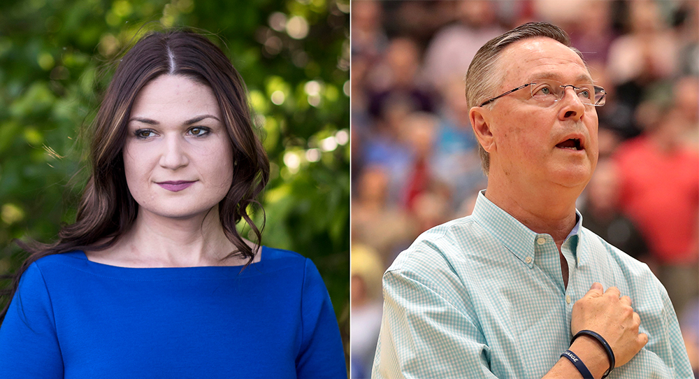 Abby Finkenauer, a state legislator, unseated Republican Rep. Rod Blum. Credits: Lauren Justice for The Washington Post via Getty Images; Scott Olson/Getty Images
