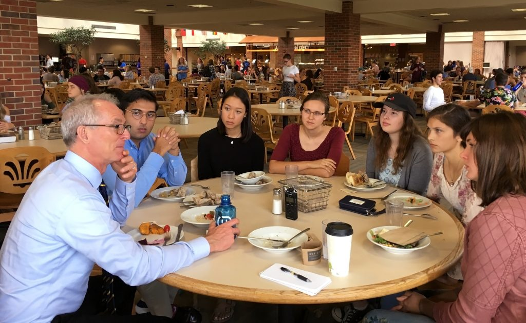 Wheaton College students have an active role model in former U.S. Rep. Bob Inglis, a Republican who has been leading a conservative movement for clean energy and action on climate change. Credit: Meera Subramanian