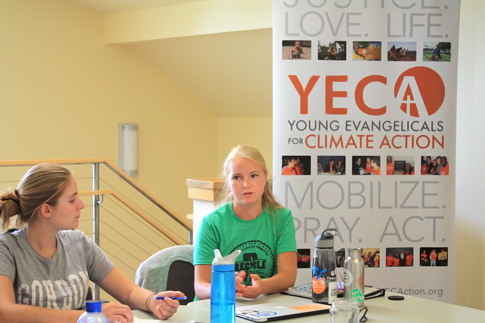 YECA Program Coordinator Lindsay Mouw (right) speaks with students at a training session in Indiana, along with Climate Leadership Fellow Christine Seibert. Credit: Tori Goebel