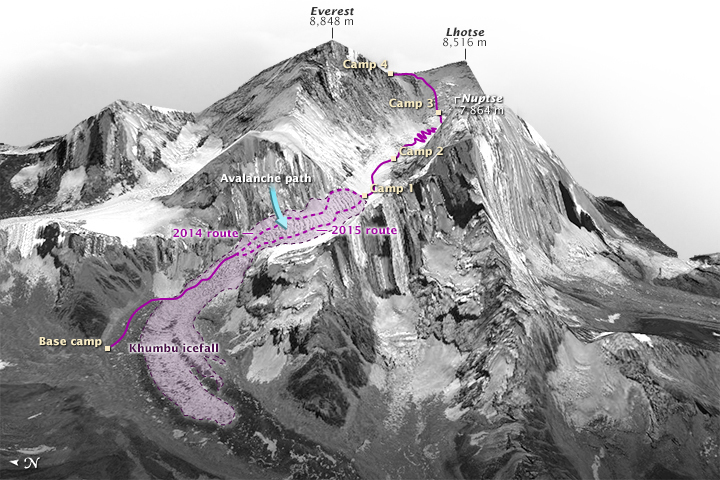 A map shows base camp and how a key climbing route up Mount Everest changed after a deadly avalanche in 2014. The Khumbu Icefall feeds Khumbu Glacier below. Credit: Gregory Leonard, with data by Digital Globe and Mark Fahey/USGS, via NASA