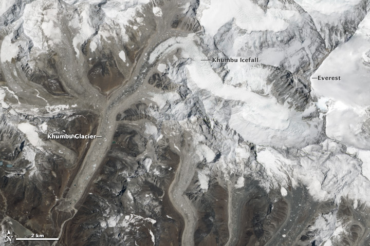 Khumbu Glacier, the world's highest glacier, has lost surface ice as the planet has warmed. Credit: NASA Landsat 8 image by Jesse Allen and Robert Simmon