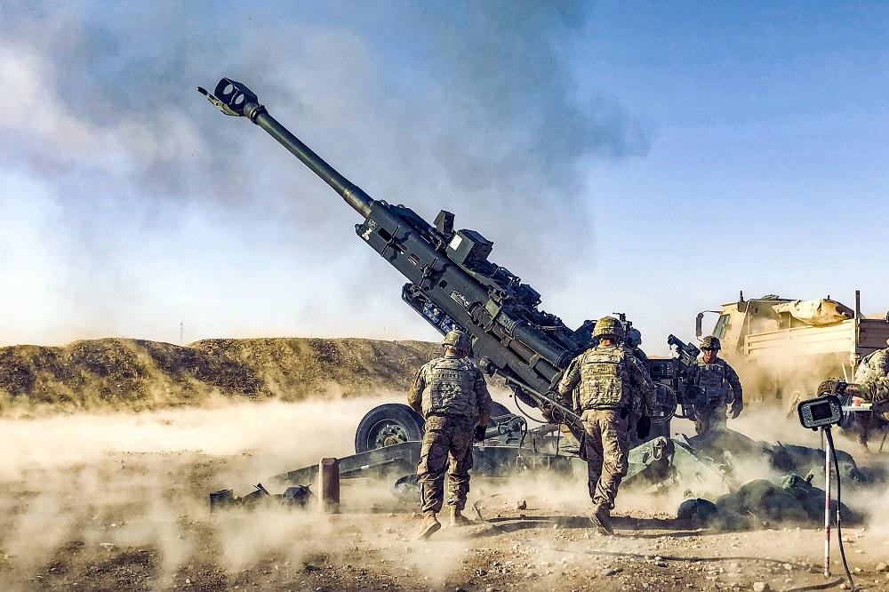 U.S. soldiers fire a howitzer in Iraq in 2018. Credit: 2nd Lt. Jamie Douglas/U.S. Army