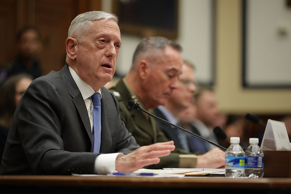Defense Secretary James Mattis and Chairman of the Joint Chiefs of Staff Gen. Joseph Dunford testify before the House Armed Services Committee about the fiscal year 2019 budget. Credit: Chip Somodevilla/Getty Images