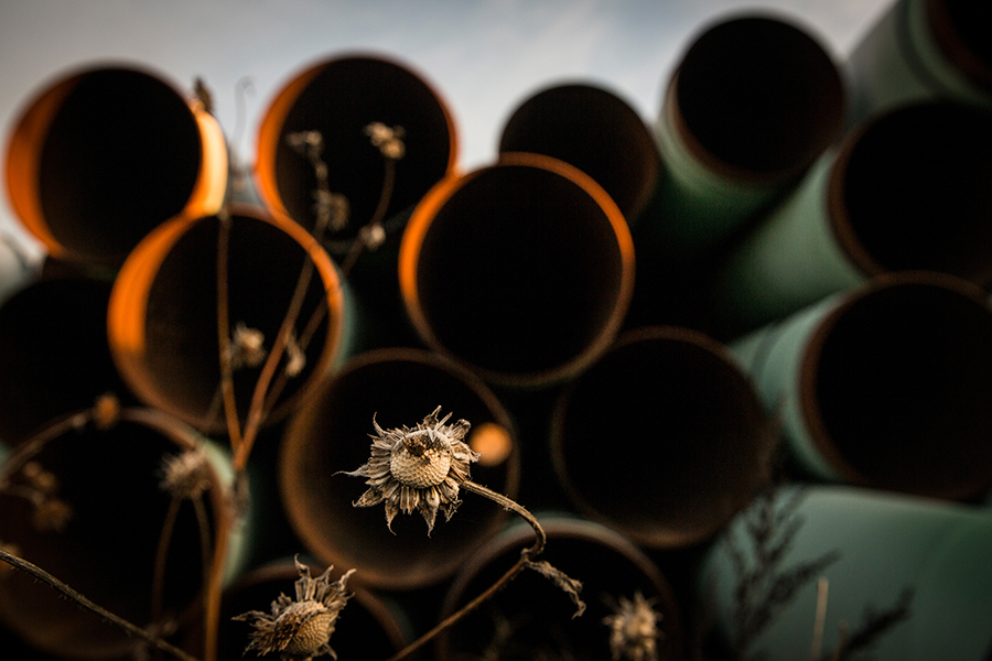 Pipeline intended for Keystone XL lays unused in a field. Credit: Andrew Burton/Getty Images