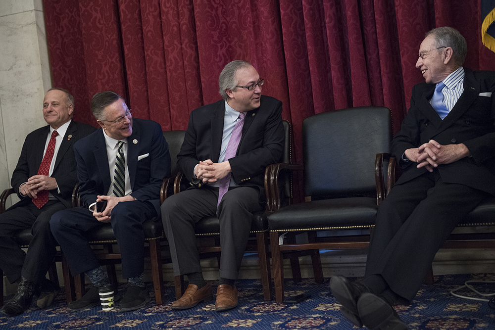 Iowa's Republican Reps. Steve King, Rod Blum and David Young, with Republican Sen. Charles Grassley, attend a rally on Capitol Hill ahead of the anti-abortion March for Life in January 2018. Credit: Tom Williams/CQ Roll Call