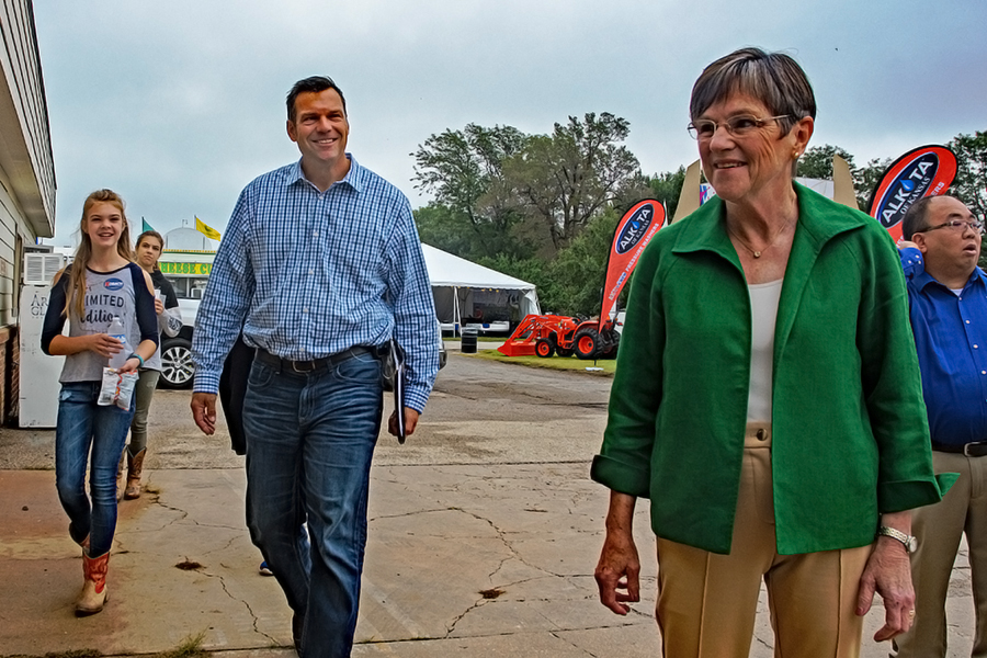 Laura Kelly (right), a state legislator who has supported clean energy policies, defeated Republican and Trump supporter Kris Kobach (left) for Kansas governor. Mark Reinstein/Corbis via Getty Images