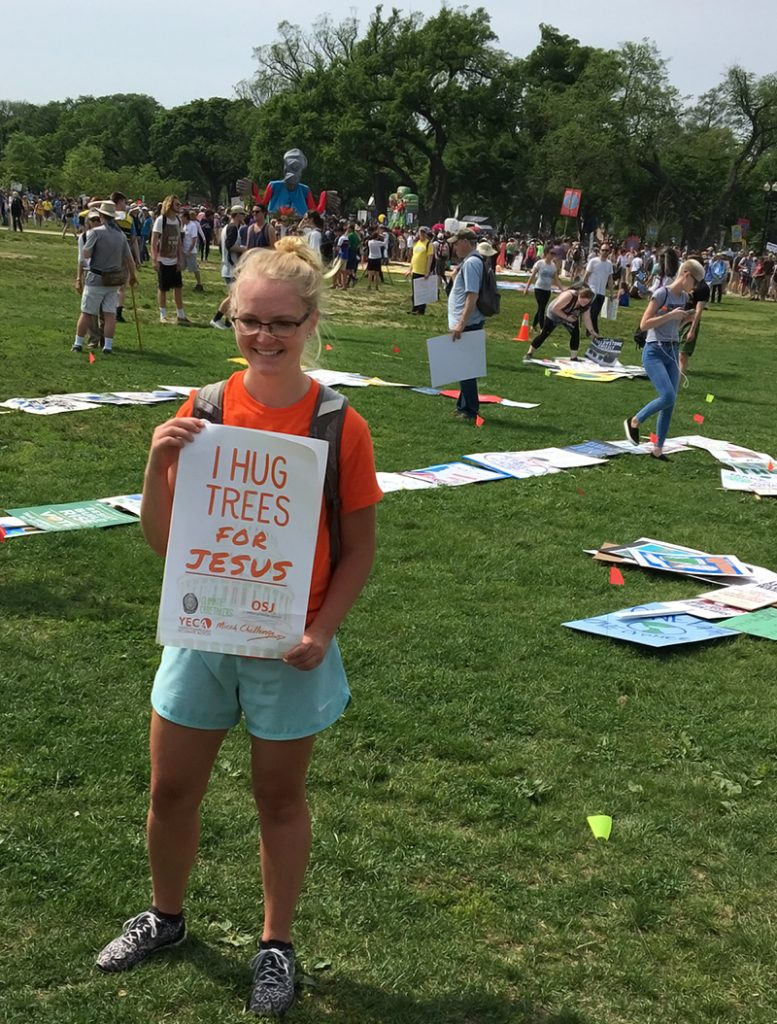 Lyndsay Mouw and other YECA members brought their message to Washington, D.C., during the People's Climate March. Credit: Kaleb Nyquist