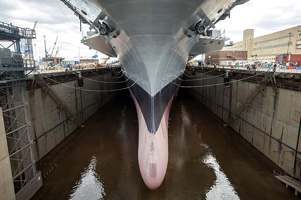 A ship in dry dock. Credit: Michael R. Gendron/U.S. Navy