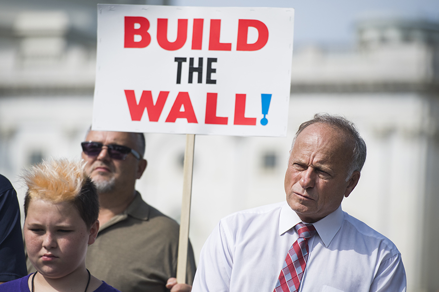 Republican Rep. Steve King, attending a Capitol Hill rally against illegal immigration, has become known for his inflammatory anti-immigration comments. Credit: Tom Williams/CQ Roll Call via Getty Images