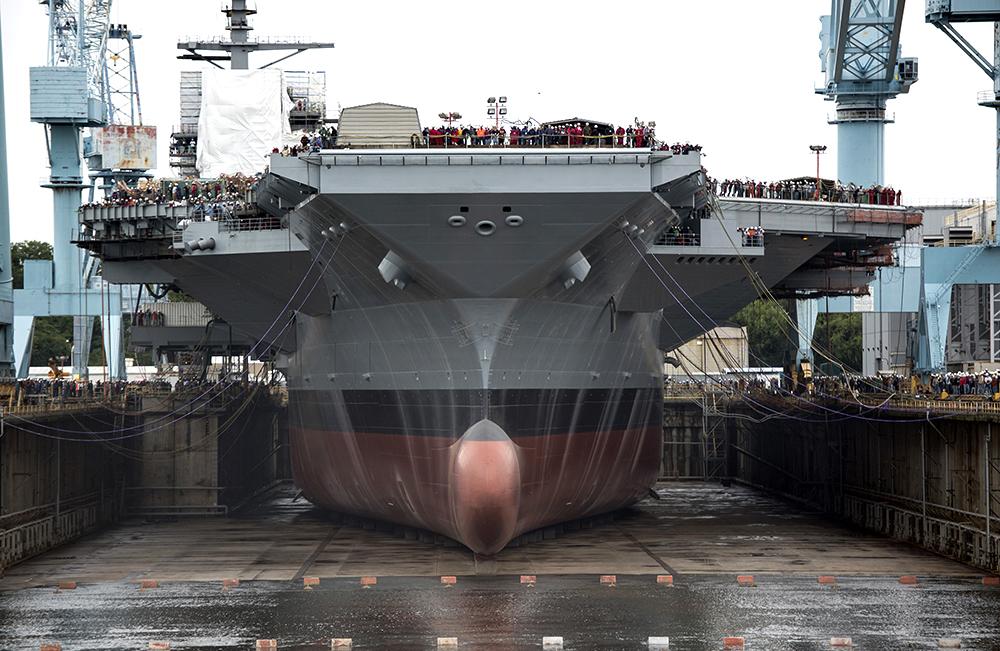 The USS Gerald R. Ford at Newport News Shipbuilding. Credit: Joshua J. Wahl/U.S. Navy