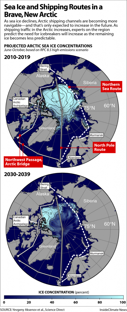 Map: Dwindling Sea Ice and Arctic Shipping Routes