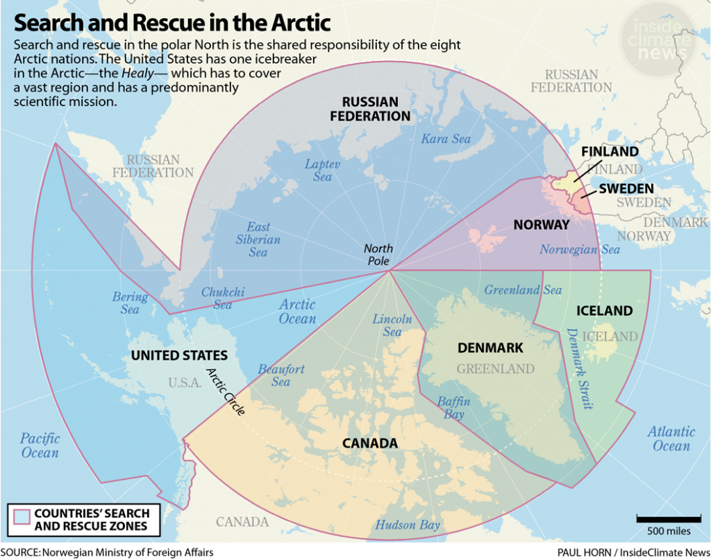 Map: Search and Rescue in the Arctic, by Country
