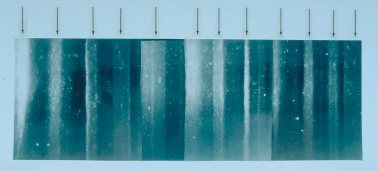 An illuminated ice core segment from Greenland shows the annual layers that develop in ice, with summer layers (pointed out by arrows) sandwiched between winter layers. Credit: NOAA