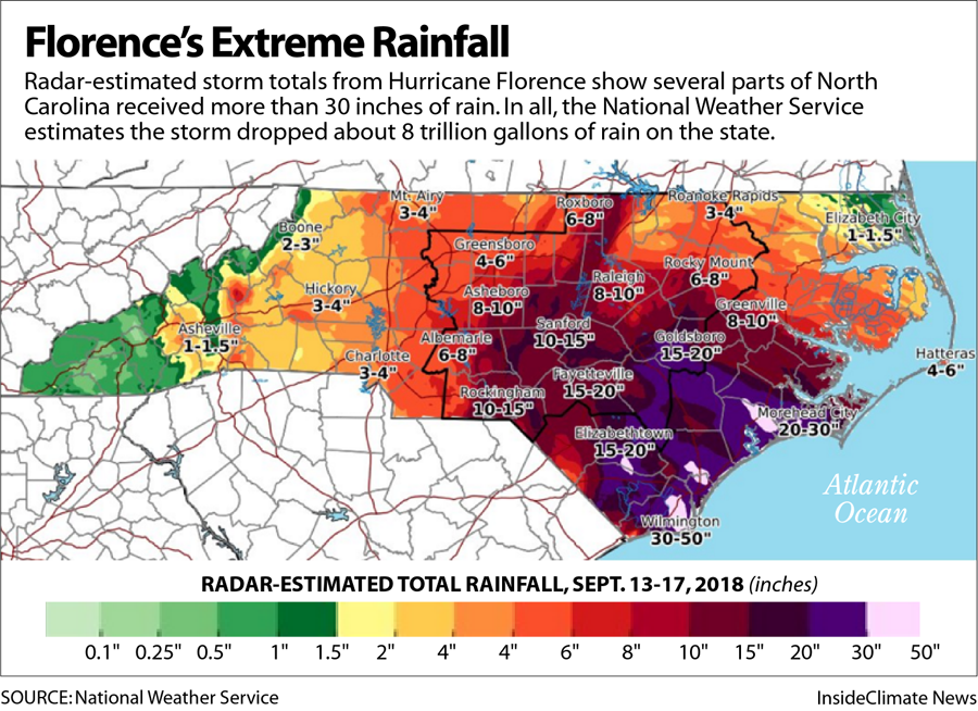 Map: Florence's Extreme Rainfall