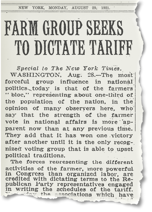 Image: 1921 New York Times Article on the Farm Bureau's Influence