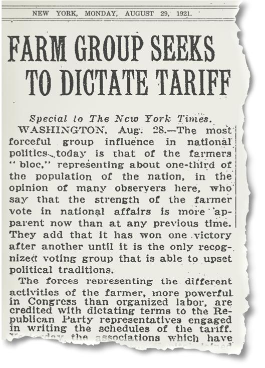 Image: 1921 New York Times Article on the Farm Bureau's Influence