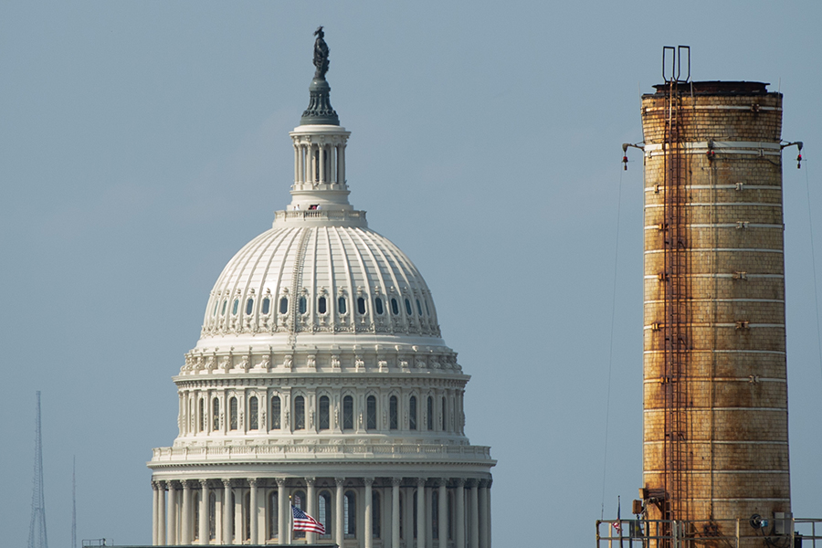 The Capitol Power Plant, a natural gas and coal-burning power plant, heats and cools the U.S. Capitol. Credit: Saul Loeb/AFP/Getty Images