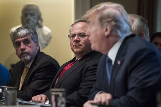 David Bernhardt (middle) listens to Donald Trump talk. Credit: Jabin Botsford/Washington Post via Getty ImagesDeputy Interior Secretary David Bernhardt (middle) listens to Donald Trump talk during a Cabinet meeting. Credit: Jabin Botsford/Washington Post