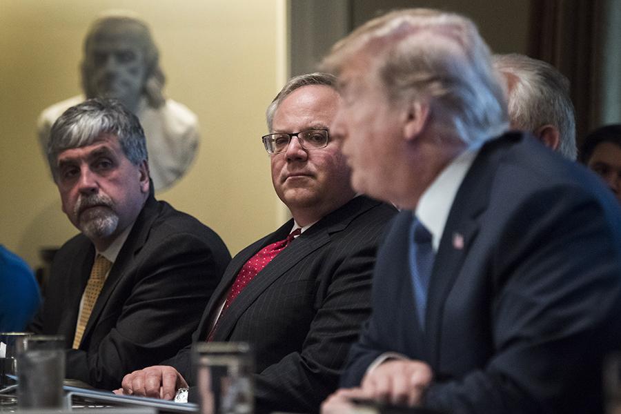 David Bernhardt (middle) listens to Donald Trump talk. Credit: Jabin Botsford/Washington Post via Getty ImagesDeputy Interior Secretary David Bernhardt (middle) listens to Donald Trump talk during a Cabinet meeting. Credit: Jabin Botsford/Washington Post