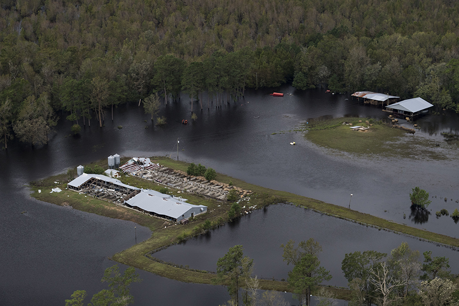 Flooding and wind from Hurricane Florence damaged farms in several parts of the state. Credit: Carolyn Van Houten/Washington Post via Getty Images