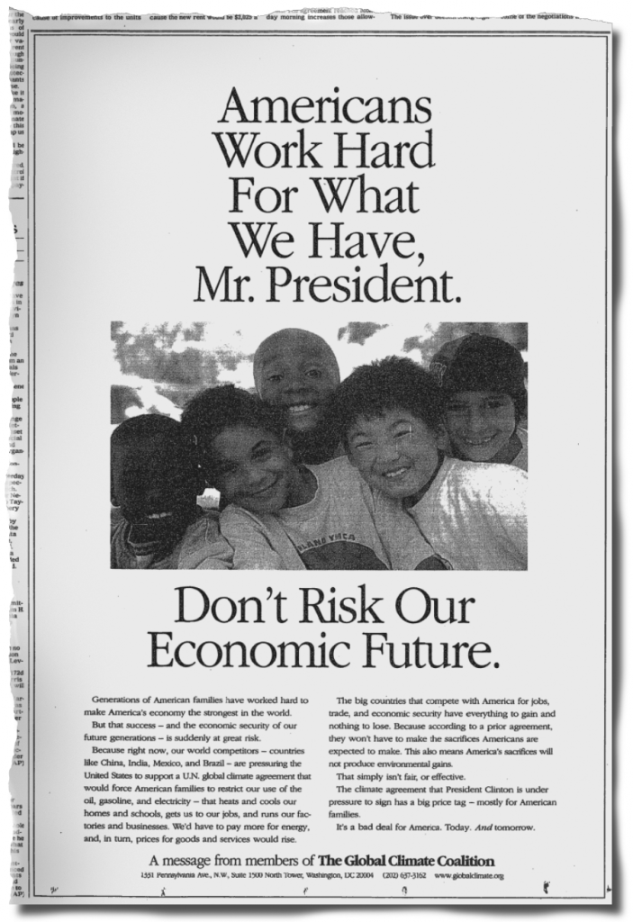Image: The Global Climate Coalition ran this ad in The New York Times in June 1997 opposing the Kyoto Protocol.