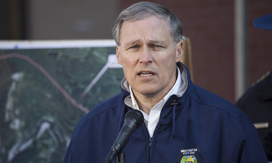 Washington Gov. Jay Inslee co-chairs the U.S. Climate Alliance, a coalition of 17 governors committed to reducing greenhouse gas emissions. Credit: David Ryder/Getty Images