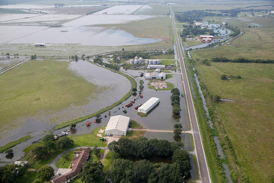 Hurricane Harvey's extreme rainfall left large areas of Gulf Coast farmland, along with farm infrastructure and equipment, under water in 2017. Credit: Staff Sgt. Daniel J. Martinez/U.S. Air National Guard