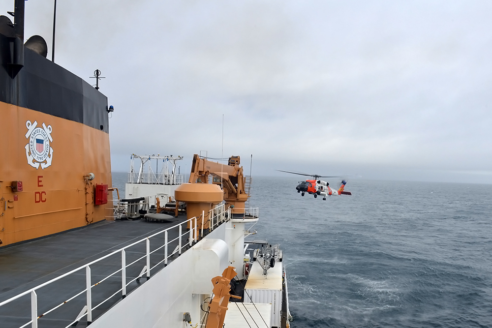 Coast Guard helicopters can help expand the Healy's reach, but it's the only U.S. military icebreaker in the Arctic. Credit: Chief Petty Officer Rachel Polish/U.S. Coast Guard