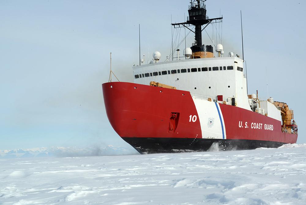 The Polar Star breaking through sea ice off Antarctica. Credit: U.S. Coast Guard