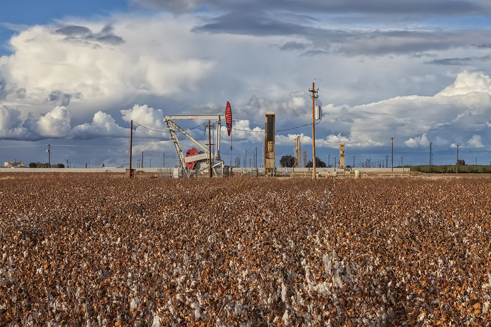 About two-thirds of fossil fuel production is on farmland, like this pump jack and fracking site in a cotton field in Kern County, California. Credit: Education Images/UIG via Getty Images
