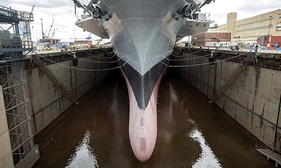 A carrier in dry dock. Credit: Michael R. Gendron/U.S. Navy