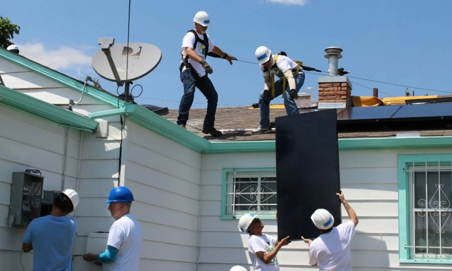 ColoradColorado's weatherization offices, which help low-income homeowners improve energy efficiency, are partnering with utilities and non-profits to install solar panels on homes. Credit: GRID Alternatives