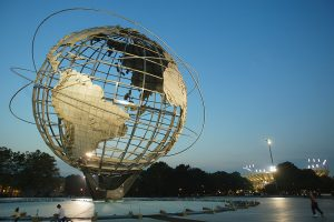 Globe sculpture outside a tennis stadium in New York. Credit: Robert Laberge/Getty Images