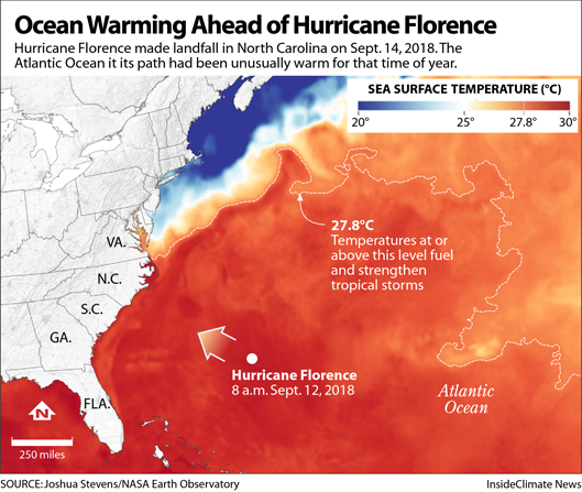 Map: Ocean warming ahead of Hurricane Florence