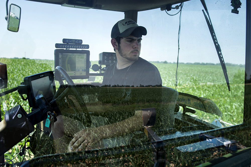 Screens show where the tractor has fertilized on a Maryland farm that use precision agriculture techniques. Brendan Smialowski/AFP/Getty Images
