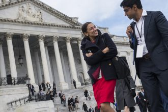 Rep. Alexandria Ocasio-Cortez has led the push for a Green New Deal along with the youth-filled Sunrise Movement. Credit: Tom Williams/CQ Roll Call via Getty Images