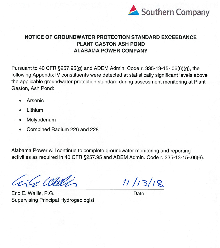 Notice of groundwater testing results at Gaston power plan